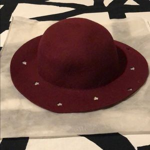 Zara girls burgundy hat